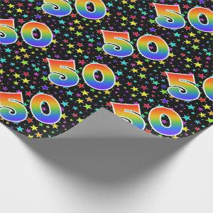 "Colorful Stars + Rainbow Pattern ""50"" Event # Wrapping Paper"