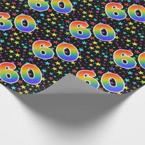 "Colorful Stars + Rainbow Pattern ""60"" Event # Wrapping Paper"