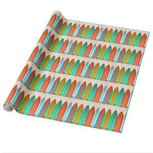 Colorful Surfboard Pattern Deisgn Wrapping Paper