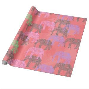 colorful tribal floral elephant pattern wrapping paper