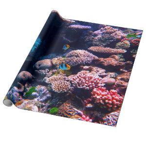 Colorful Tropical Coral Reef Wrapping Paper