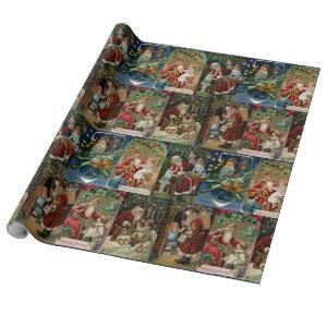 Colorful Vintage Father Christmas Collage Wrapping Paper