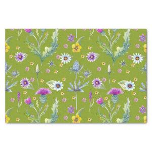 Colorful watercolor flowers on green background tissue paper