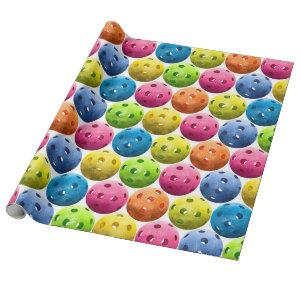 Colorfull Pickleballs on White Wrapping Paper