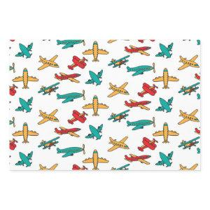 colourful Airplane Pattern White Background Wrapping Paper Sheets