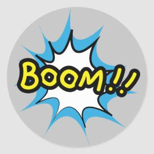 Comic book design Boom Classic Round Sticker