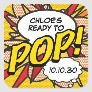 Comic Book Ready to POP! Baby Shower Sprinkle Square Sticker
