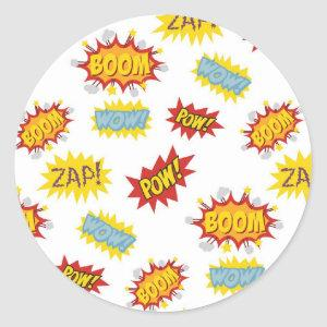 Comic book style sound effect pattern classic round sticker
