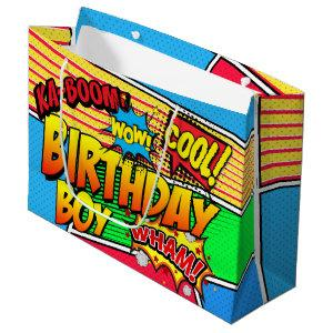 Comic Book Superhero Birthday Party Custom Large Gift Bag