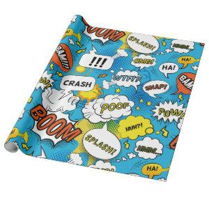 Comic Book Superhero Speech Bubble Pattern Wrapping Paper