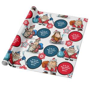 Comic Style Santas Personalized Wrapping Paper