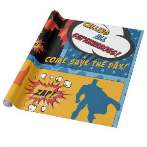 Comic Superhero Boy Party Gift Wrapping Paper