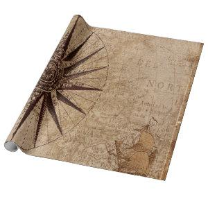 Compass Vintage Map Navigation Nautical Wrapping Paper