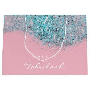 Confetti Sparkly Glitter Blue Pink Bridal White Large Gift Bag