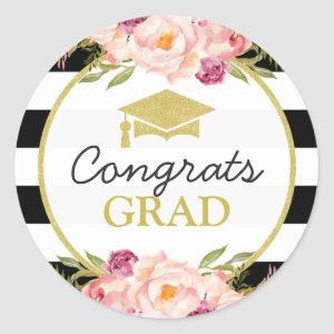 Congrats Grad | Floral Stripes Glam Graduation Classic Round Sticker