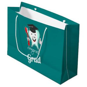 Congrats Grad White Tooth with Graduation Cap Large Gift Bag