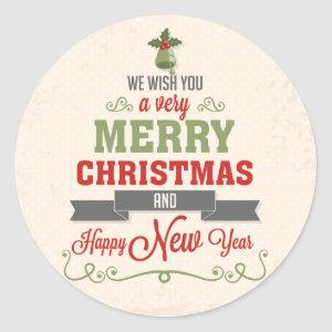Congratulation of Christmas Classic Round Sticker