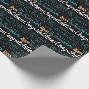 Congratulations Modern Typography Wrapping Paper