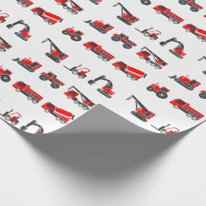 Construction, Black & Red Trucks, Crane, Tractor Wrapping Paper