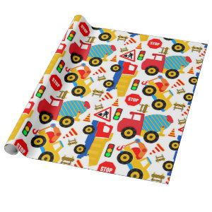 Construction Children's Matte Wrapping Paper
