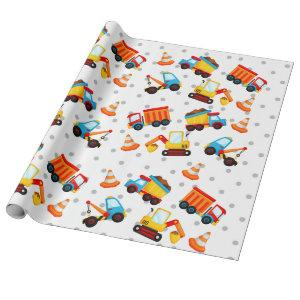 Construction Dump Truck Cute Pattern Boy Wrapping Paper