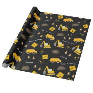 Construction Happy Birthday, Boy Name Age Pattern Wrapping Paper