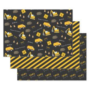 Construction Happy Birthday, Boy Name Age Pattern Wrapping Paper Sheets