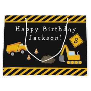 Construction Happy Birthday with Name and Age Boy Large Gift Bag
