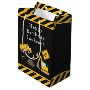 Construction Happy Birthday with Name and Age Boy Medium Gift Bag