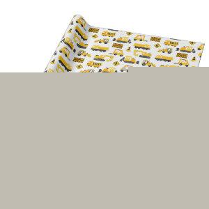 Construction Trucks and Signs Pattern White Wrapping Paper