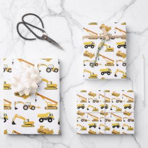 Construction Trucks Pattern Wrapping Paper Sheets