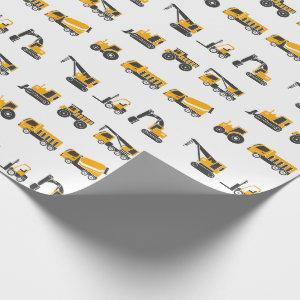 Construction Vehicles, Black and Yellow Trucks Wrapping Paper