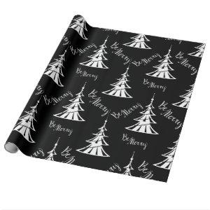 Contemporary Black and White Christmas Wrapping Paper