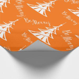 Contemporary Orange and White Christmas Wrapping Paper