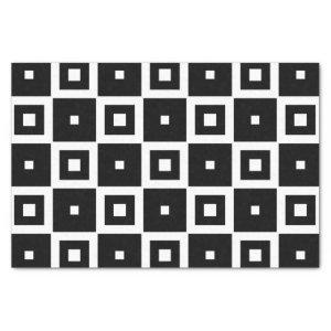 Contemporary Trendy Black & White Squares Pattern Tissue Paper