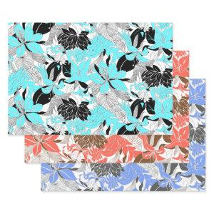 Contour Hawaii Tropical Lily & Protea Floral Trio Wrapping Paper Sheets
