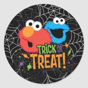 Cookie Monster and Elmo - Trick or Treat Classic Round Sticker