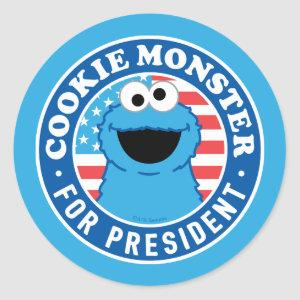 Cookie Monster for President Classic Round Sticker