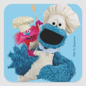 Cookie Monster's Foodie Truck Friends Square Sticker