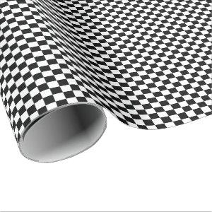 Cool Black And White Checkered Flag Pattern Wrapping Paper