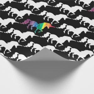 Cool Black and White Rainbow Unicorn Pattern Wrapping Paper