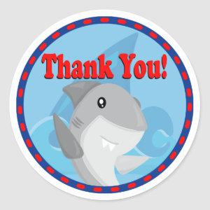 Cool Boy Shark Birthday Thank You Party Favor Tag