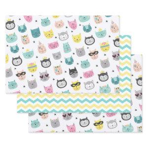 Cool Cat Faces Teal Yellow Chevron Pattern Wrapping Paper Sheets