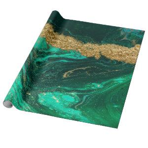 Cool Modern Green Gold Marble Stone Texture Wrapping Paper