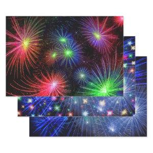 Cool New Years Eve Colorful Fireworks in Black Sky Wrapping Paper Sheets