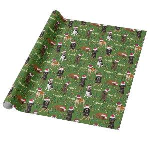 Coonhound Santa Green Wrapping Paper