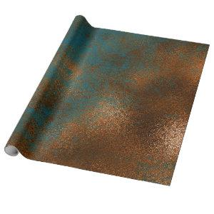 Copper Blue Patina Metallic Grill Urban Abstract Wrapping Paper