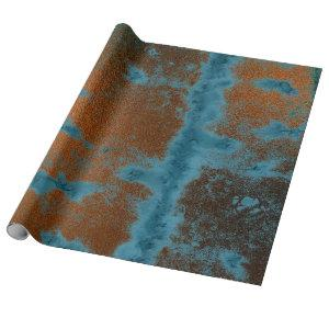 Copper Blue Patina Metallic Grungy Urban Abstract Wrapping Paper