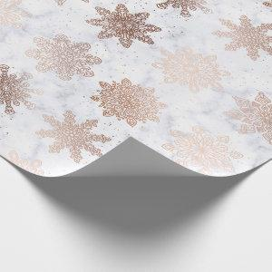 Copper Gold & Marble Snowflake Christmas Pattern Wrapping Paper