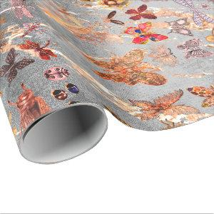 Copper Gray Gold  Meadow Butterfly Insects Gem Wrapping Paper